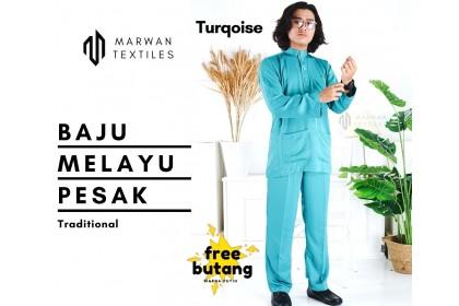 Baju Melayu Pesak Warna Turqoise Green