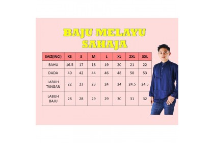 Baju Melayu Pesak( Baju Sahaja) Warna Dark Grey