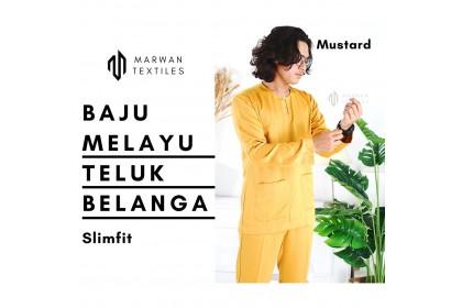 Baju Melayu Slim Fit Teluk Belanga Dewasa Warna Dark Grey