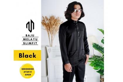 Baju Melayu Slim Fit Warna Black