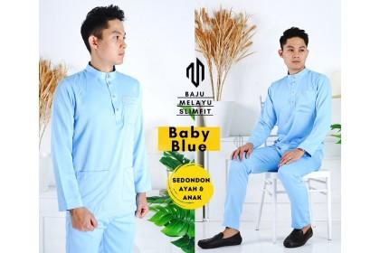 Baju Melayu Slim Fit Warna Baby Blue