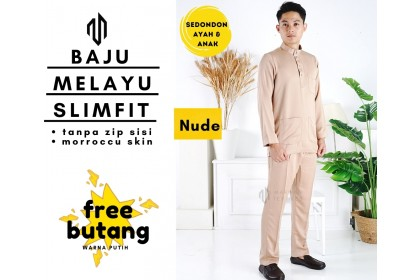 Baju Melayu Slim Fit Warna Nude