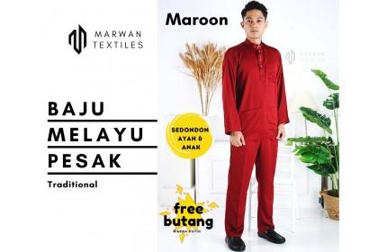 Baju Melayu Pesak Warna Maroon