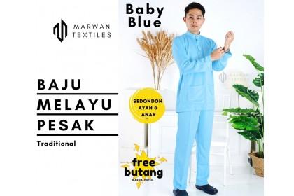 Baju Melayu Pesak Warna Baby Blue