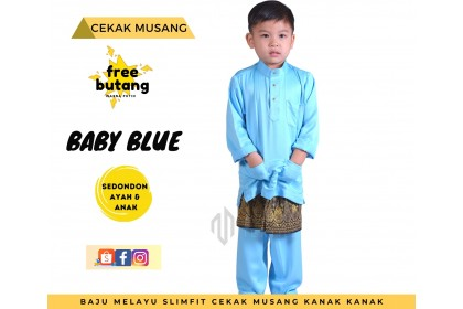 Baju Melayu Kids Cekak Musang Slimfit Warna Baby Blue