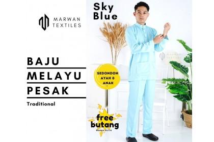 Baju Melayu Pesak Warna Sky Blue