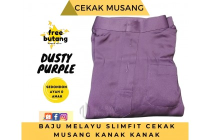 Baju Melayu Kids Cekak Musang Slimfit Warna Dusty Purple