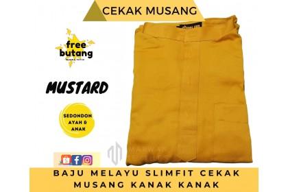 Baju Melayu Kids Cekak Musang Slimfit Warna Mustard