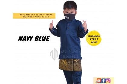 Baju Melayu Kids Cekak Musang Slimfit Warna Navy Blue