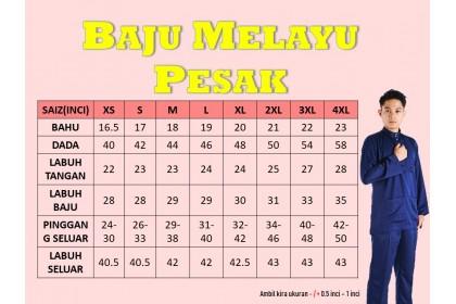 Baju Melayu Pesak Warna Navy Blue