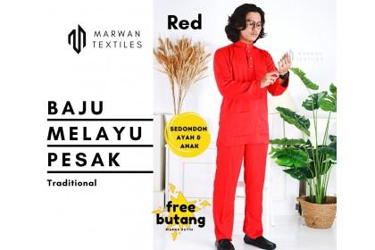 Baju Melayu Pesak Warna Merah Red
