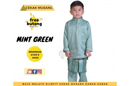 Baju Melayu Kids Cekak Musang Slimfit Warna Mint Green