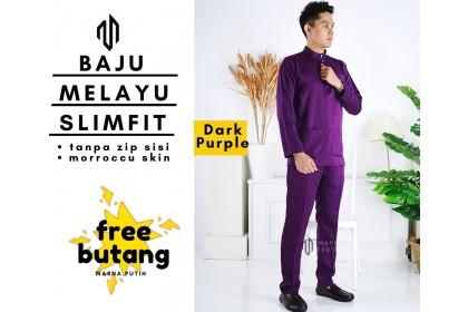 Baju Melayu Slim Fit Warna Dark Purple