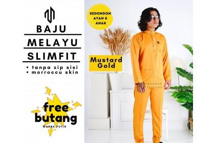 Baju Melayu Dewasa Slim Fit Cekak Musang Warna Mustard Gold